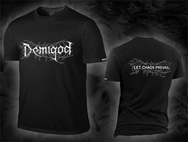 Demigod - let chaos prevail / logo (schwarzes T-Shirt)